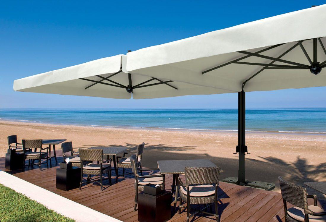 ombrellone alluminio poker double - Tessitura Selva - arredi e attrezzatura da spiaggia e giardini